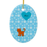 Personalized name orange cat blue snowflakes ornament