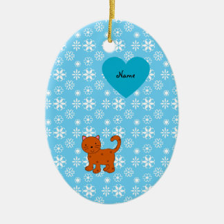 Personalized name orange cat blue snowflakes Double-Sided oval ceramic christmas ornament