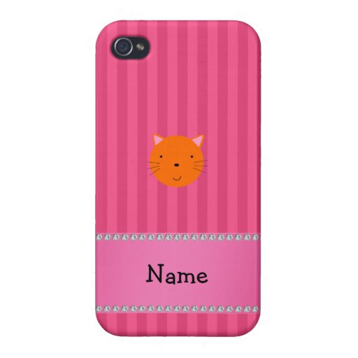 Personalized name orange cat face pink stripes cases for iPhone 4