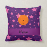 Personalized name orange cat face purple pink star pillows