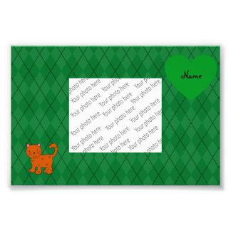 Personalized name orange cat green argyle photo print