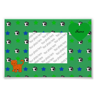 Personalized name orange cat green soccer stars photographic print
