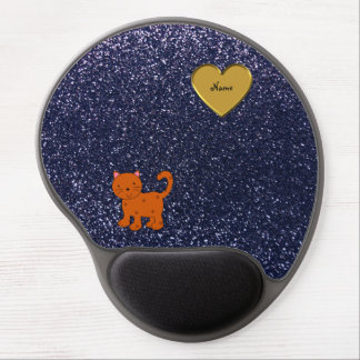 Personalized name orange cat navy blue glitter gel mouse pad