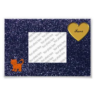 Personalized name orange cat navy blue glitter photo print