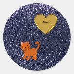 Personalized name orange cat navy blue glitter round sticker