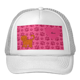 Personalized name orange cat pink paws trucker hat