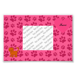 Personalized name orange cat pink paws photo art