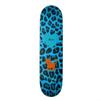 Personalized name orange cat sky blue leopard skateboard deck
