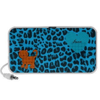 Personalized name orange cat sky blue leopard iPod speakers