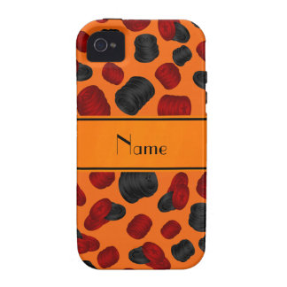 Personalized name orange checkers game iPhone 4 cover