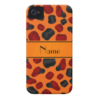 Personalized name orange checkers game iPhone 4 case