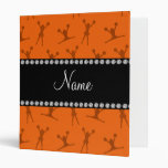 Personalized name orange cheerleader pattern 3 ring binders