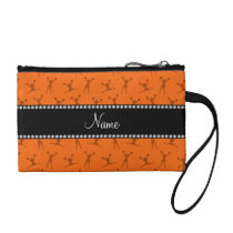Personalized name orange cheerleader pattern change purse
