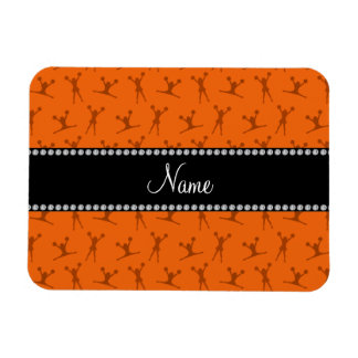Personalized name orange cheerleader pattern magnet