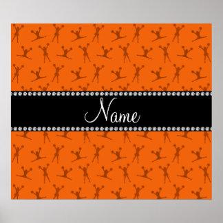 Personalized name orange cheerleader pattern print