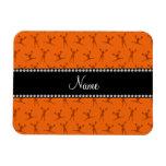 Personalized name orange cheerleader pattern vinyl magnets