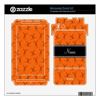 Personalized name orange cheerleader pattern motorola droid x2 decals