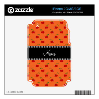 Personalized name orange cherry pattern skins for iPhone 3