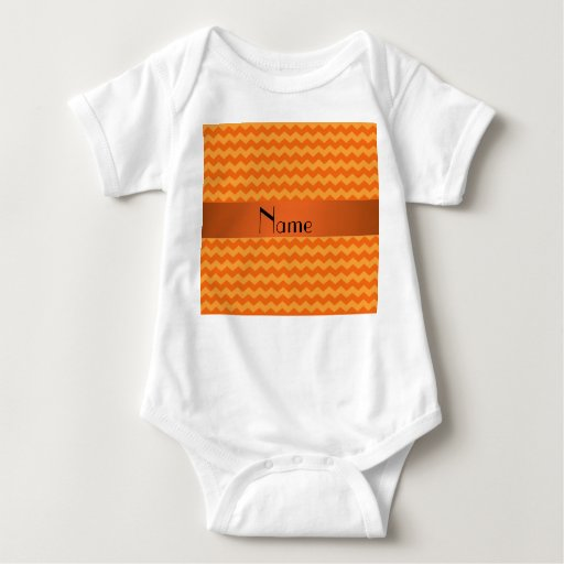 Personalized name orange chevrons baby bodysuit