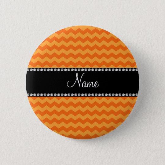Personalized name orange chevrons button