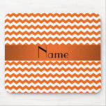 Personalized name orange chevrons mousepads