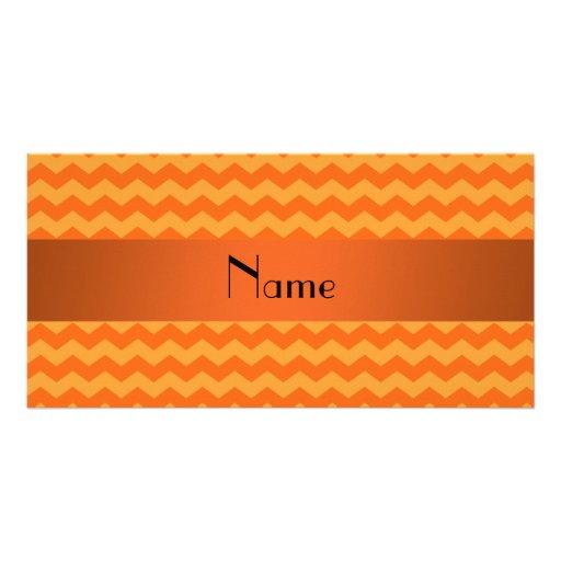 Personalized name orange chevrons photo card