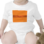 Personalized name orange chevrons rompers