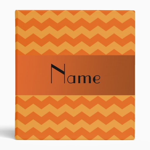 Personalized name orange chevrons vinyl binder