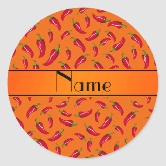 Personalized name orange chili pepper classic round sticker