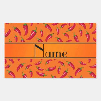 Personalized name orange chili pepper rectangular sticker