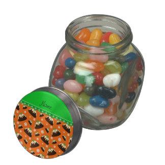 Personalized name orange christmas pudding pattern glass candy jar