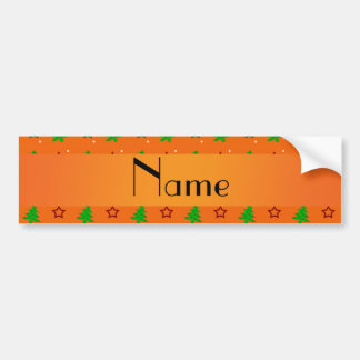 Personalized name orange christmas stars bumper sticker
