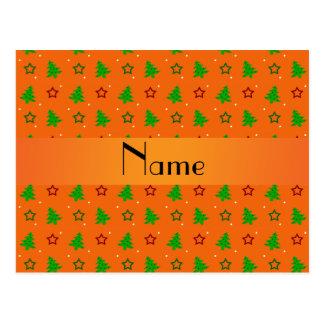 Personalized name orange christmas stars postcard