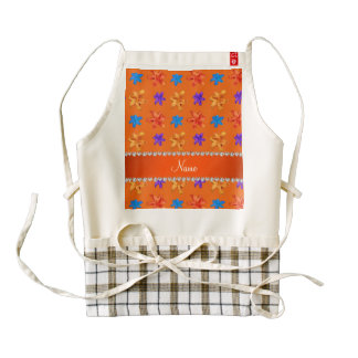Personalized name orange colorful lily flowers zazzle HEART apron