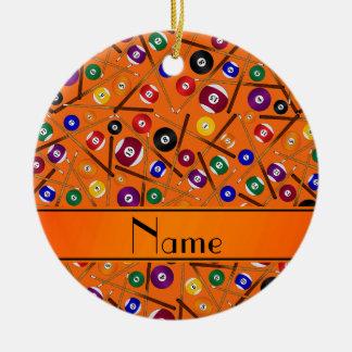 Personalized name orange colorful pool pattern ceramic ornament