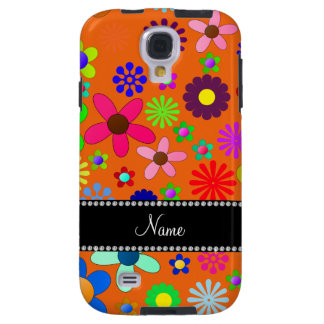Personalized name orange colorful retro flowers galaxy s4 case