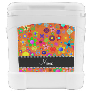Personalized name orange colorful retro flowers igloo rolling cooler