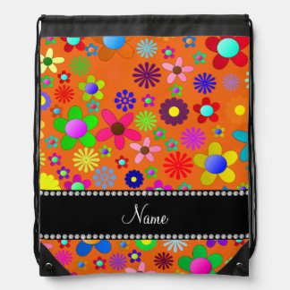 Personalized name orange colorful retro flowers backpack