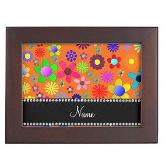 Personalized name orange colorful retro flowers memory box