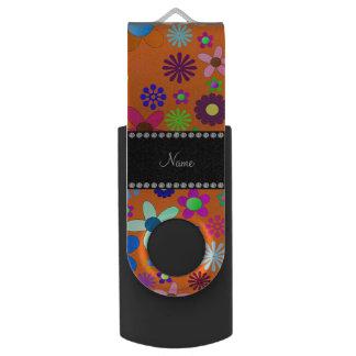 Personalized name orange colorful retro flowers swivel USB 2.0 flash drive