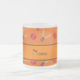 Personalized name orange cricket pattern 10 oz frosted glass coffee mug