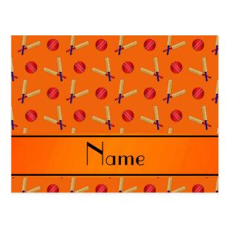 Personalized name orange cricket pattern postcards