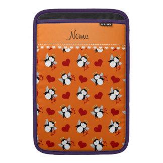 Personalized name orange cupid penguins red hearts MacBook air sleeve