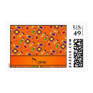 Personalized name orange cute boy wrestlers mat postage