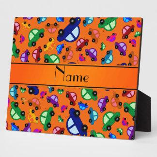 Personalized name orange cute car pattern photo plaques