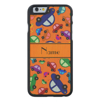 Personalized name orange cute car pattern carved® maple iPhone 6 case