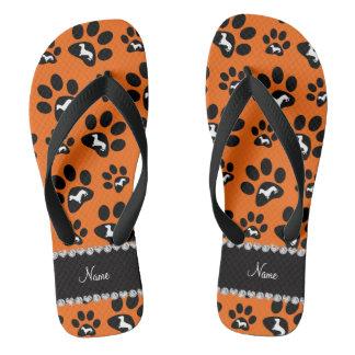 Personalized name orange dachshunds dog paws flip flops