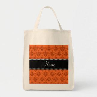 Personalized name Orange damask Canvas Bag