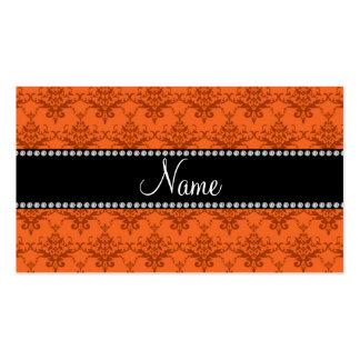 Personalized name Orange damask Business Card Templates