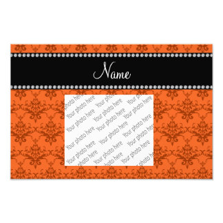 Personalized name Orange damask Photo Print